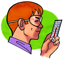 A student closely examining a thermometer