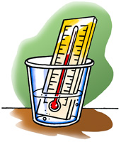 A thermometer in a cup of cold water