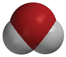 A space-filling model of a water molecule