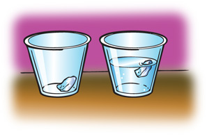 At left, a cup with a piece of ice in it. At right, a cup filled with water, with a piece of ice floating in it.