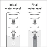 Two graduated cylinders. At left, the graduated cylinder with the initial water level. At right, the graduated cylinder after the small cylinder has been added and a higher final water level.