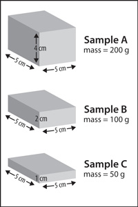 Three different cubes with different dimensions and masses, but the same density
