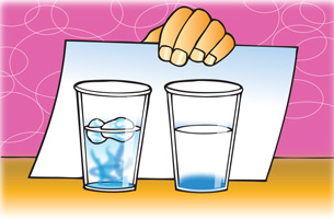 Two cups, one filled with ice water and a small amount of food coloring, the other filled with 15 drops of food coloring.  Both cups are viewed against a white background, created by a student holding a piece of paper behind them.