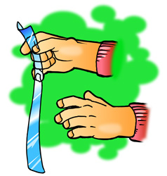 A student holds a long strip of plastic in one hand with his other hand nearby.
