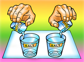 Two students add 15mL of water and, seperately, 15mL of alchol to two cups filled with salt