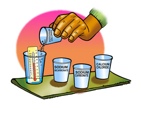 Four kinds of crystals are added to seperate cups containing water and a thermometer
