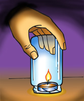 A glass jar being placed over a tealight candle
