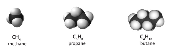 Space-filling models of methane, propane, and butane along with their chemical formulae