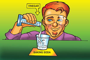 A teacher pours 10 milliliters of vinegar into a small cup containing baking soda