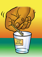 A student uses a flat toothpick to add a small amount of citric acid to a cup of water