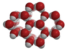 Molecules of water arranged a fixed crystal structure in ice.
