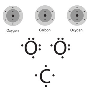 Two depictions of a carbon atom bounded on either side by an oxygen atom. Above, energy level models of the atoms. Below, lewis dot structures of the atoms, in which only the outermost electrons are depicted, and the arranged about the chemical symbol of the atom.