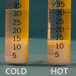 Salt is dissolved in two graduated cylinders, one containing hot water and the other containing cold water. The is no discernible difference in the amount of salt dissolved in water at different temperatures.