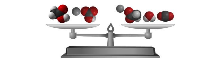 "Space filling models of the molecules representing the products and reactants in the reaction between baking soda and vinegar are shown on a scale to indicate that the equation is ""balanced"".  The same amount and kinds of atoms are on both sides of the equation."